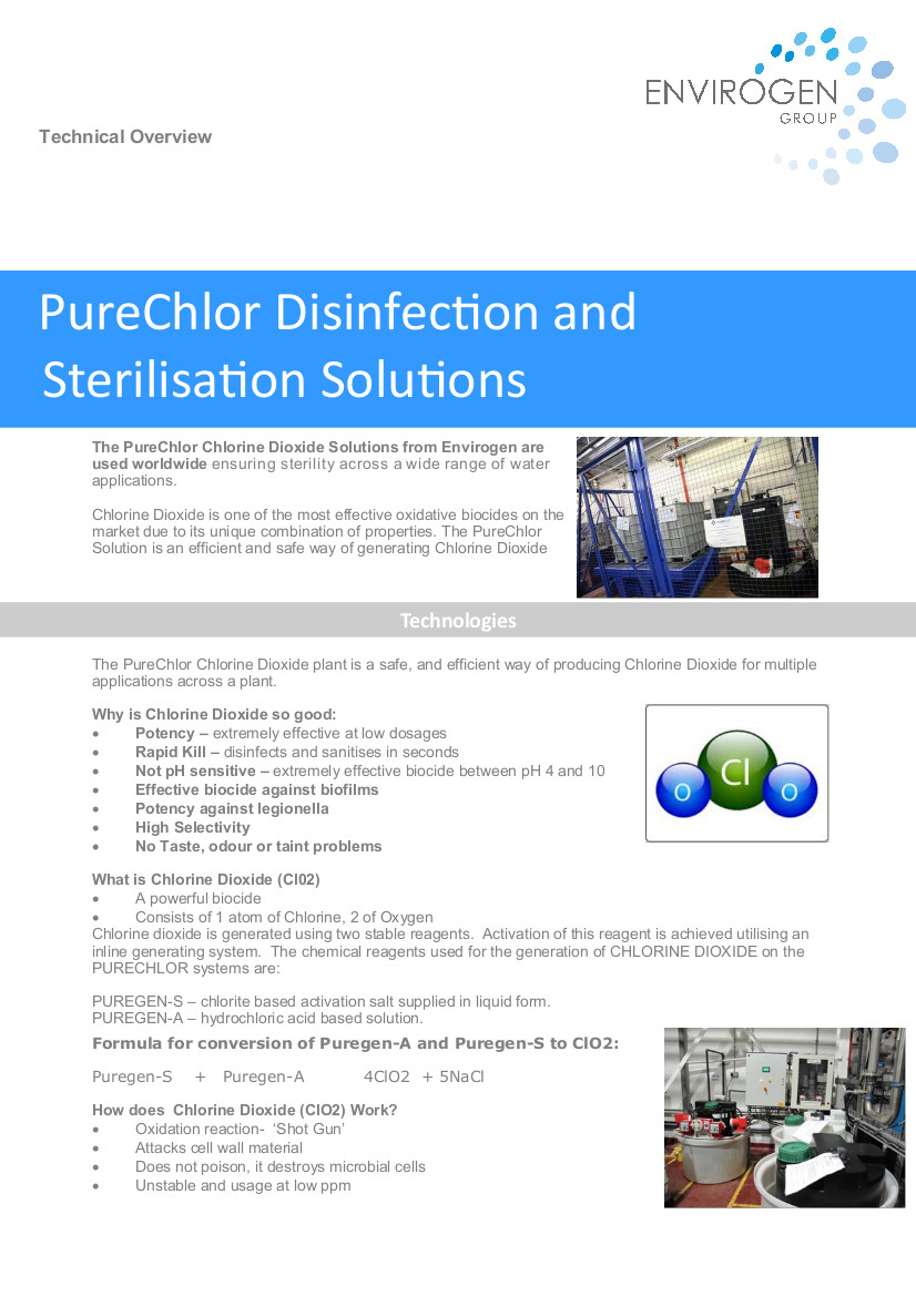 Purechlor disinfection and sterilisation solutions -New