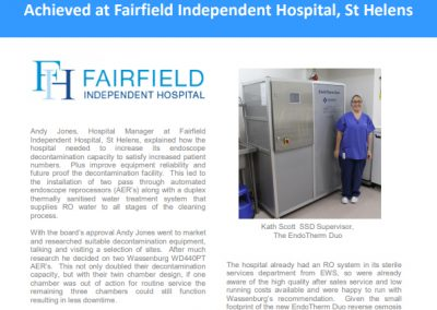 Fairfield Independent Hospital Case Study – endoscope decontamination