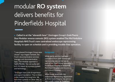 Pinderfields Hospital Case Study – small and flexible, modular RO system delivers benefits