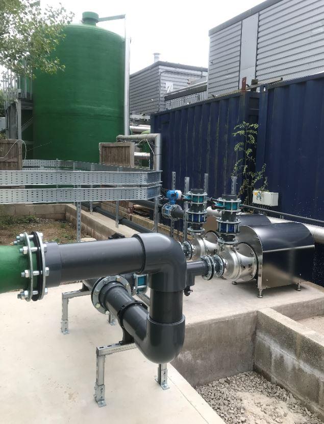 Pipework for chlorine dosing tanks